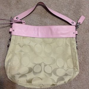 Coach Cream Jacquard Hobo with Pink